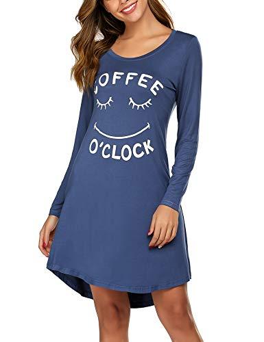MAXMODA Nachthemd Damen Langarm Sommer Nachtwäsche Baumwolle Sleepshirt Kurzarm Sexy Schlafshirt Nachtkleid S-XXL