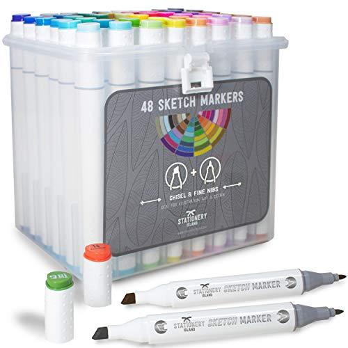 Stationery Island Graffiti Stifte in 48 Farben + Transportbox – Alkohol-Twin Marker für Mandalas, Zeichnen, Malen für Erwachsene, Grafik Design, Anime, Comic und Manga Kunst