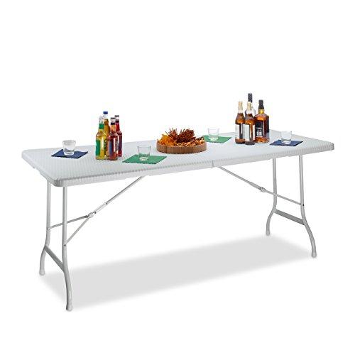 Relaxdays Gartentisch klappbar BASTIAN, groß, Tragegriff, stabiler Campingtisch, H x B x T: 72 x 178 x 74 cm, weiß