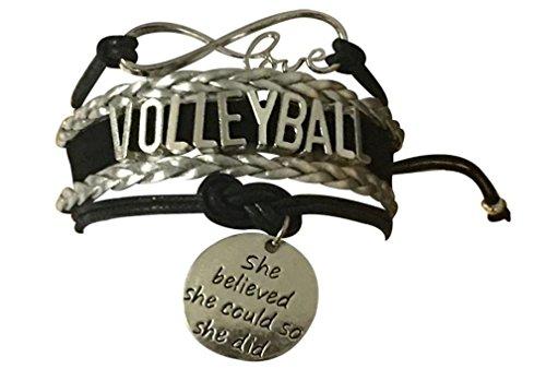Infinity Collection Volleyball Sie glaubte sie kann Also hat sie Armband Volleyball Schmuck, Volleyball-Team-Armbänder, perfekte Volleyball-Geschenke für Spieler und Teams
