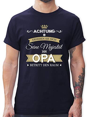 Opa - Seine Majestät der Opa - L - Navy Blau - L190 - Tshirt Herren und Männer T-Shirts
