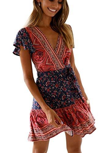 MisShow Elegante Strandkleid Minikleid Boho Sommerkleid Blumen Split Wickelkleid Gr. M