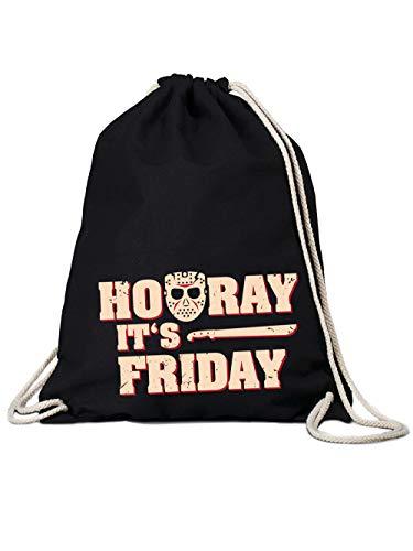 clothinx Hooray It is Friday Halloween Hockey Maske Horror Motiv Turnbeutel Schwarz