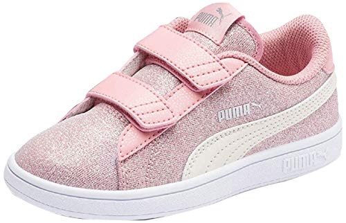 PUMA Smash v2 Glitz Glam Kids Mädchen Sneaker B Rose-P Parchment-Silv-Wht UK 1_Youth_FR 33