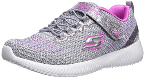 Skechers Girls' BOBS Squad-Glitter Madness Trainers, Grey (Gray/Hot Pink Glitter & Embroidered Sneaker Gyhp), 12.5 UK (31 EU)
