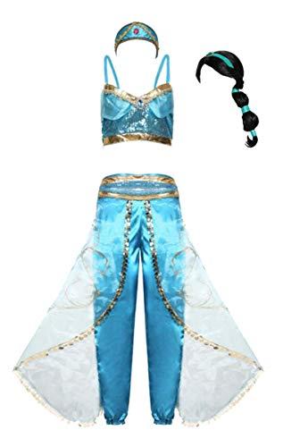 Aishangyide Erwachsener Damen Mädchen Prinzessin Jasmin Aladdin Kostüm Set Top+Lange Hose+Stirnband Satin Tüll Langarm Sexy Outfit für Halloween Cosplay Weinachten Karneval Party Verkleidung Fasching