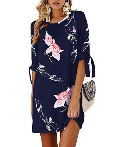 YOINS Damen Kleider Tshirt Kleid Sommerkleid für Damen Rundhals Brautkleid Langarm Minikleid Kleid Langes Shirt Lose Tunika mit Bowknot Ärmeln Blumen-blau-01 M