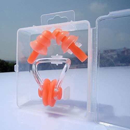 VOANZO 4 Stücke Silikon Schwimmen Ohrstöpsel Für Kinder Ohrstöpsel Und Nasenklammer Sets, Wasserdicht & Komfortabel Für Kinder Mädchen Jungen Babys Kleinkinder (orange)
