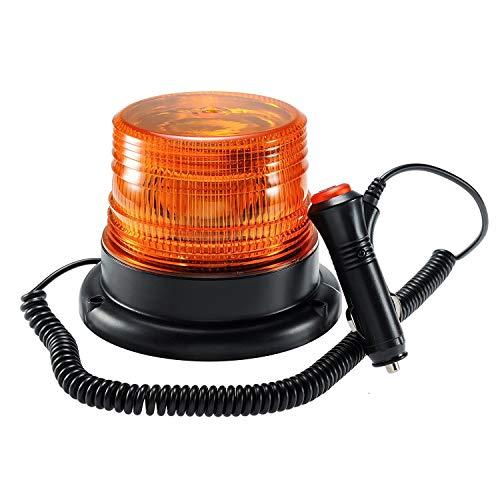 LED Rundumkennleuchte, Gelb Rundumleuchte für Auto Anhänger Wohnwagen SUV - Magnetfuß - 12V/80V