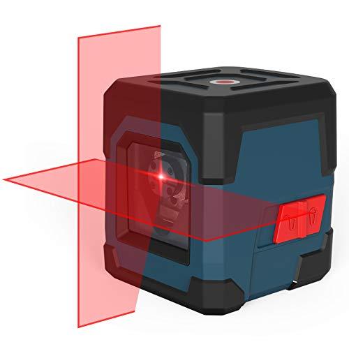 Kreuzlinienlaser, RockSeed Selbstnivellierend Linienlaser 15M ± 0,2 mm/m, IP54 Staub & Wasserschutz Vertikale/Horizontale Roter Laser Wasserwaage inkl. 2*AA Batterien & Schutztasche - LV1