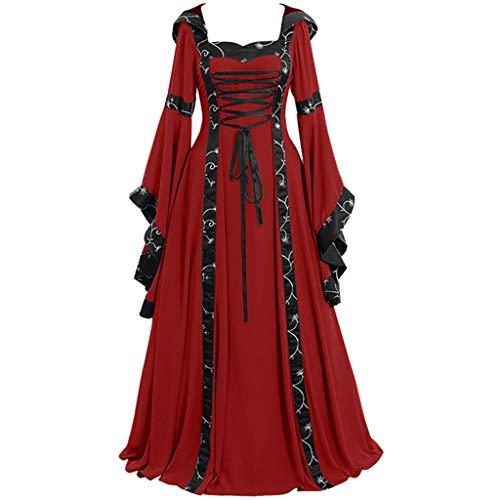 Piebo Damen Mittelalterliche Kleid Trompetenärmel Mittelalter Party Kostüm Maxikleid Kleid Gothic Viktorianischen Königin Kostüm Prinzessin Renaissance Bodenlänge Mehrfarbig Kleider mit Kapuze