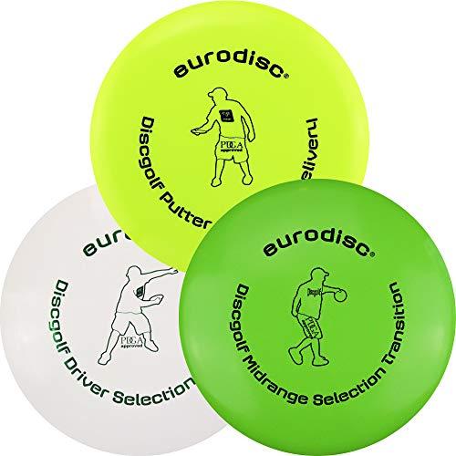 Eurodisc Disc Golf Frisbee Einsteiger Starter Set besonders hochwertig haltbar Selection Putter Midrange Driver (GelbGrünWeiss)