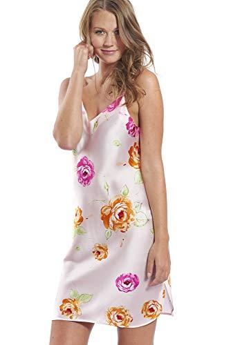 Jadee Damen Seiden Nachthemd Nachtkleid Negligee aus 100% Seide - Pink Roses - M -