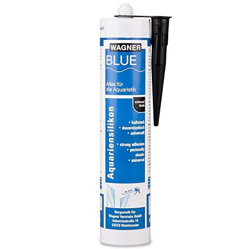 Wagner BLUE Aquariensilikon Kartusche 310 ml, Profi Aquarium Silikon Dichtstoff für Aquarien und Ganzglaskonstruktionen, süß- und meerwasserbeständig, hohe Elastizität (schwarz)