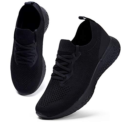 HKR Damen Turnschuhe Atmungsaktiv Laufschuhe Leichtgewichts Sportschuhe Freizeitschuhe Straßenlaufschuhe Sneaker Trainer für Running Fitness Gym Outdoor Schwarz 39 EU