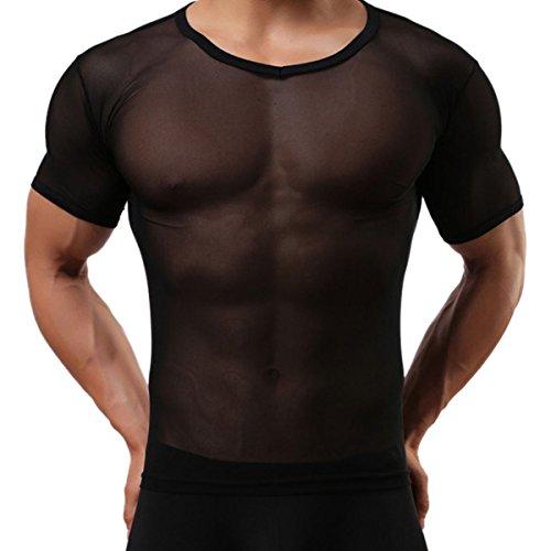 Panegy Herren Sexy Transparent T Shirt Glatt Gaze Slim Fit Tops Unterwäsche Reizwäsche Größe L - Schwarz