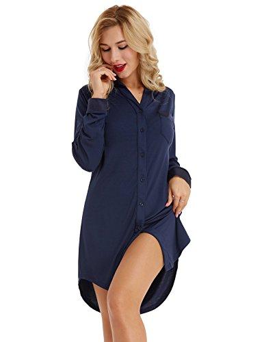 Damen Nachthemd mit Knopfleiste Nachthemd Kleid Negligee Langarm Lange Schlafanzüge Nachtwäsche Dunkelblau M