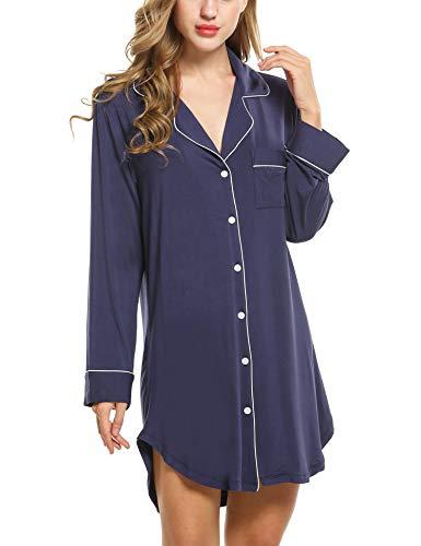 Damen Nachthemd Pyjama Negligee V-Ausschcnitt Nachtkleid Schlafshirt Langarm Modal Schlafanzüge Nachtwäsche Sleepwear Kleid, Langarm 1: Marineblau, M