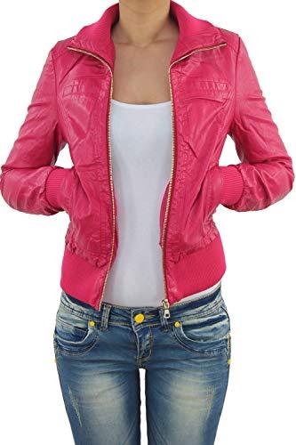 Sotala Damen Lederjacke Kunstlederjacke Leder Jacke Damenjacke Jacket Bikerjacke Blouson in vielen Farben S - 4XL Pink S