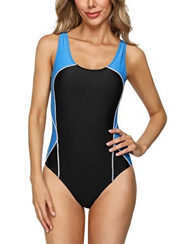 Sykooria Damen Sportlicher Einteiler Badeanzug Racerback Schwimmanzug Push Up figurformend Bauchweg mit Polsterung