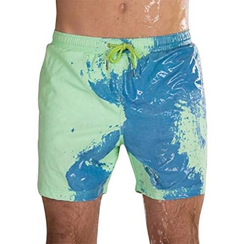 Zoloyo Herren-Strandshorts, magische Farbwechsel, Strand-Shorts für Männer, Bademode, schnelltrocknend, Badeshorts für Jungen, Strand, Freizeit, Hose, elastischer Bund, baumwolle, grün, xl