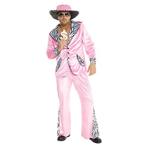Morph Rosa Zuhälter Kostüm für Herren, Pimp Verkleidung Erwachsene, Junggesellenabschied, Karneval, Halloween, Party - L (107-112 cm Brustumfang)