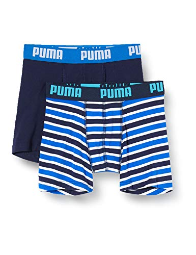 PUMA Jungen Boys Basic Boxer Printed Stripe 2P Boxershorts, Mehrfarbig (Blue 056), (Herstellergröße: 140) (2er Pack)