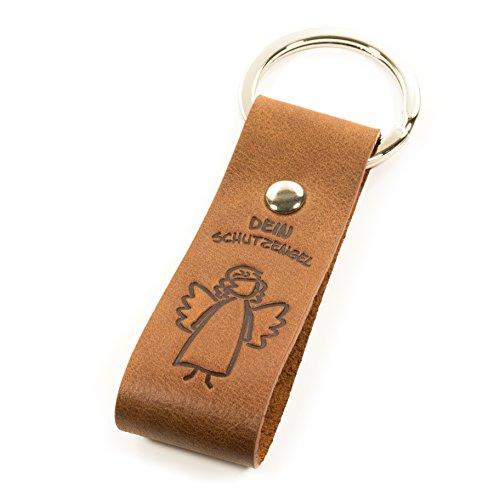 Luminick Schlüsselanhänger Schutzengel, weiches Leder, Glücksbringer für das Schlüsselband, edles Geschenk, Maskottchen, Geschenkbox, für Motorrad, Auto & Reisen