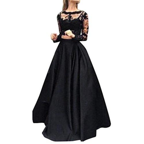 TWIFER Damen Formale Prom Lange Spitze Rock Partykleid lang Langarm Bluse + Maxi Rock zweiteiliges Set