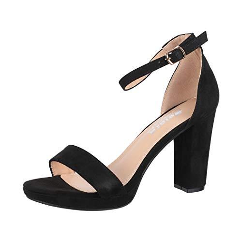 Elara Damen Pumps High Heels Chunkyrayan WW100 Black-38