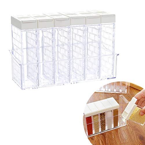 Apofly 6Pcs / Set transparent und einfach Gewürzstreuer Gläser Gewürz Box, würzte Jar Vorratsbehälter mit Behälter für Küchenhelfer Weiß