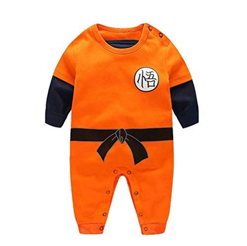 Dragon Ball Z Design Baby Jungen Mädchen Strampler Cosplay Kostüm Goku-inspiriert Säugling Outfit Overall Kleidung, Lange Ärmel, 66 CM / 3-6 Monate