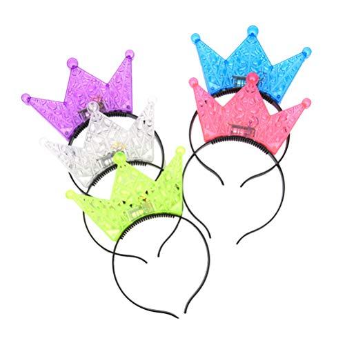 Lurrose 5 stücke Blinkende LED Krone Stirnbänder Glänzende Prinzessin Headwear Party Kopfschmuck für Mädchen Jungen Festival Geburtstagsfeier (Zufällige Farbe)