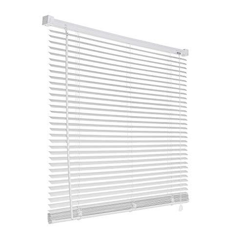 Aufun PVC Jalousien 120 x 160 cm Weiß Jalousie Rollo aus Kunststoff mit 25 mm Kunststofflatte, Jalousette inkl. Installationszubehör für Fenster, Datenschutz, Schattierung