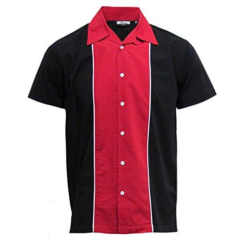 Relco - Herren Hemd kurzärmelig - Retro/Bowling-Stil - Rot/Schwarz - S