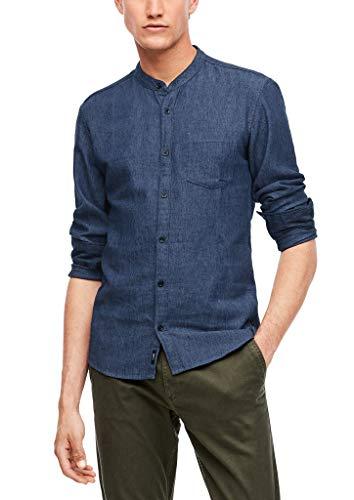 Q/S designed by - s.Oliver Herren Extra Slim: Leinenmix-Hemd blue L