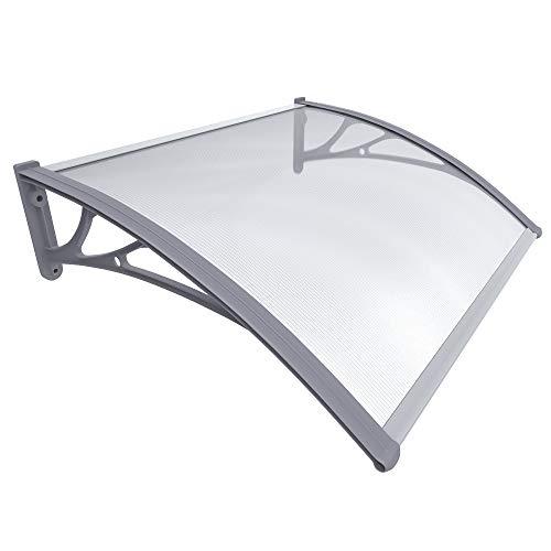 VOUNOT Vordach für Haustür 100 x 80 cm, Überdachung Haustür aus Aluminium und Polycarbonat, Transparentes Pultbogenvordach, Pultvordach, Grau