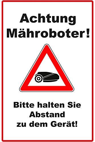 Achtung Mähroboter Schild | 20 x 30 cm | Bitte halten Sie Abstand zu dem Gerät Alu-Hinweisschild 3mm | Alu-Dibond-Platte