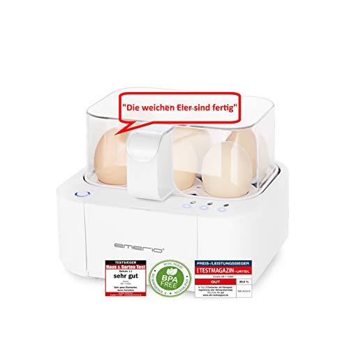 Emerio EB-115560, NEUHEIT, kocht alle drei Garstufen [weich|mittel|hart] in nur einem Kochvorgang mit perfektem Ergebnis, Sprachausgabe, einzigartig in Technik und Design, weiß, BPA frei, 400 Watt
