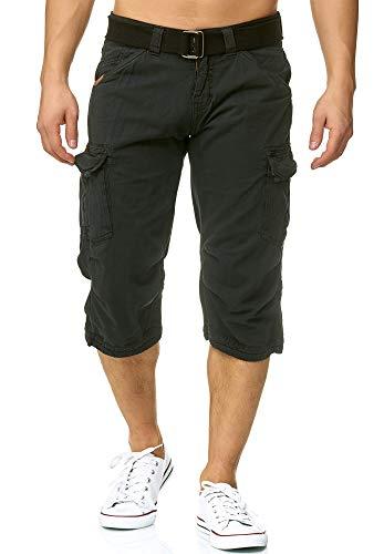Indicode Herren Nicolas Check 3/4 Cargo Shorts kariert mit 6 Taschen inkl. Gürtel aus 100% Baumwolle | Kurze Hose Sommer Herrenshorts Short Men Pants Cargohose kurz für Männer Black S