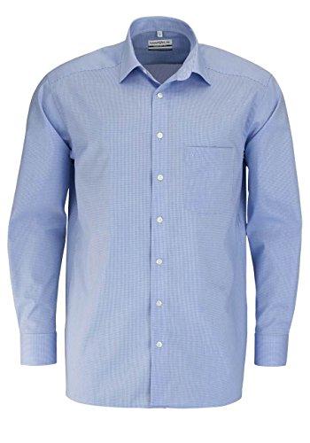 MARVELIS Comfort Fit Hemd Langarm New Kent Karo blau Größe 44