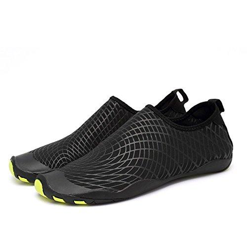 LeKuni Badeschuhe Damen Herren Schwimmschuhe Kinder Surfschuhe Barfuß Schuhe Wasserschuhe Strandschuhe Aquaschuhe rutschfeste Neoprenschuhe(42EU,ZZW_Schwarz) …