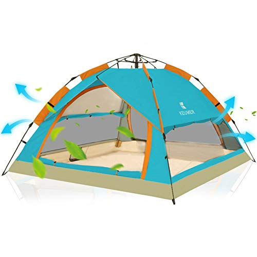 LULUVicky Camping-Zelt Out Door Camping Familie 3-4 Personen Backpacking Zelt mit Easy Setup Festival-Zelt (Color : Blue, Size : One Size)