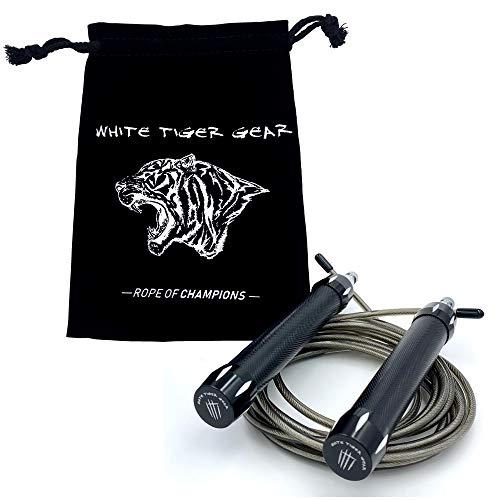 Springseil von White Tiger Gear - Speed Rope für Erwachsene & Kinder, Länge Einstellbar, Fitness Seilspringen, Skipping Jump Rope, Ideal für Boxen, Crossfit, HIIT, MMA & Intervalltraining