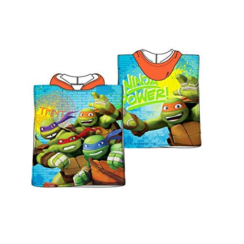 SUN CITY Mutant Turtles Ninja Poncho Bademantel für Kinder, Meer mit Kapuze