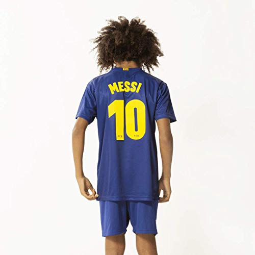 Unbekannt Morefootballs - Offizielles Lionel Messi FC Barcelona Heimspiel Trikot Set für Kinder - Saison 19/20-128 - Heim Tenue mit Messi Nummer 10 Trikot und kurzer Hose - Fussball Shirt und Shorts
