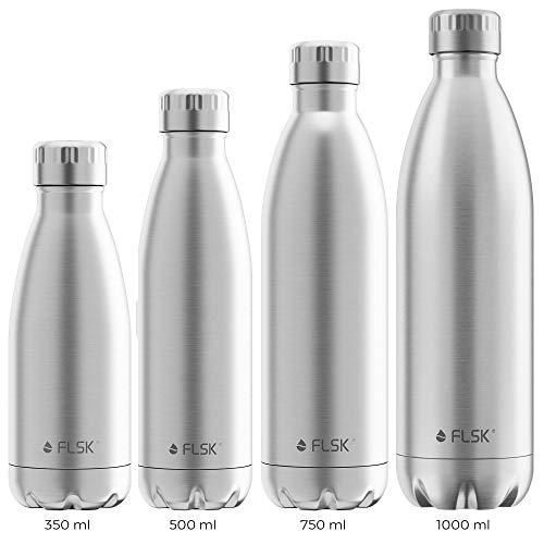 FLSK das Original Trinkflasche Thermoflasche Isolierflasche hält 18h heiß - 24h kalt (Farbe Stainless, Grösse 1000ml)