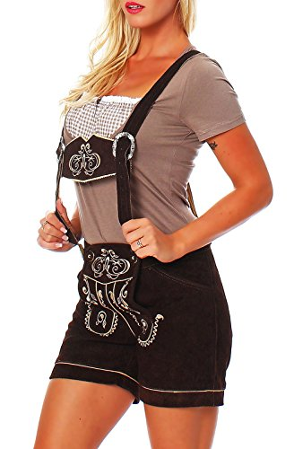Engelleiter Damen Trachen Lederhose Shorts braun Oktoberfest zick Zack Stickerei (42)