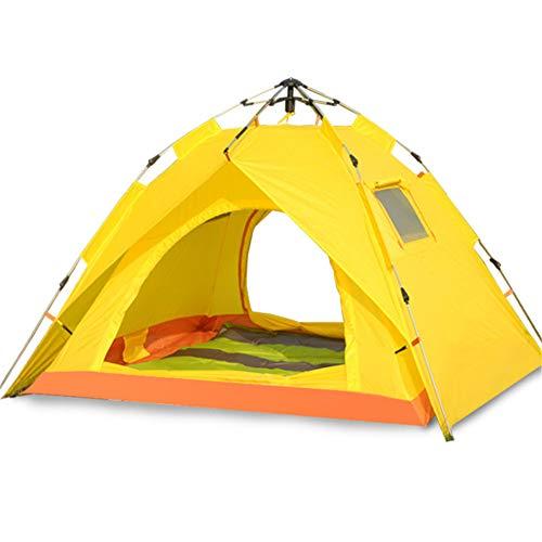 Spacious,Anti-UVZelt, 3-4 Personen Edelstahl Automatik Quick Opening Zelte Camping Outdoor Familie Regenschutz Zelte,Yellow,215 * 193 * 135cm