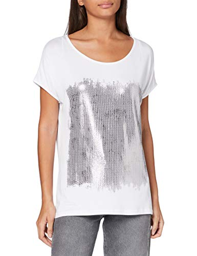 Berydale Damen Loose Fit T-Shirt mit Folienprint (Knitted Loops), Weiß/Silber, 42/44